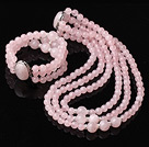 Elegant Design Three Strands Round Rose Quartz Beaded Jewelry Set (Necklace with Matched Bracelet)