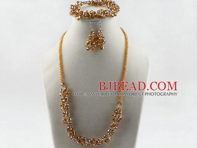 yellow Czech crystal necklace bracelet earrings set