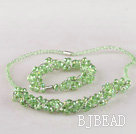 green Czech crystal necklace bracelet earrings set