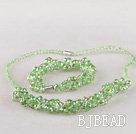 green Czech crystal necklace bracelet earrings set  under $ 40