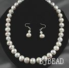 12-14mm Natural White Freshwater Pearl Set ( Beaded Necklace and Matched Earrings )