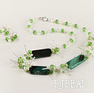 white pearl green crystal and agate necklace earrings set