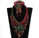 2015 Luxurious Shining Red & Green Crystal Statement Christmas Jewelry Set (Necklace, Bracelet & Earrings)