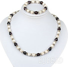 sellable 9-10mm fresh water pearl necklace bracelet set