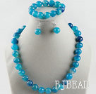 14mm faceted blue agate ball necklace bracelet and earrings set