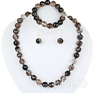 12mm faceted natural black cherry quartze ball necklace bracelet and earrings set