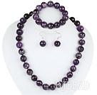 14mm faceted natural amethyst ball necklace bracelet and earrings set