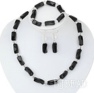 admirably white crystal black agate necklace bracelet earring set