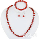 8mm faceted red agate ball necklace bracelet earrings set