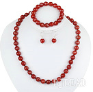 10mm faceted red agate ball necklace bracelet earrings set