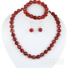 12mm faceted red agate ball necklace bracelet earrings set