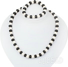 white fresh water pearl black agate necklace bracelet set
