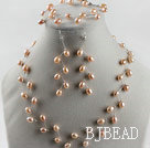 bridal jewelry 6-7 natural pink rice pearl necklace bracelet earrings set