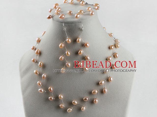 Favoloso da sposa 6-7 naturale rosa riso perla collana bracciale orecchini set SC03