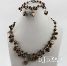 heart and round shape tiger eye necklace bracelet set