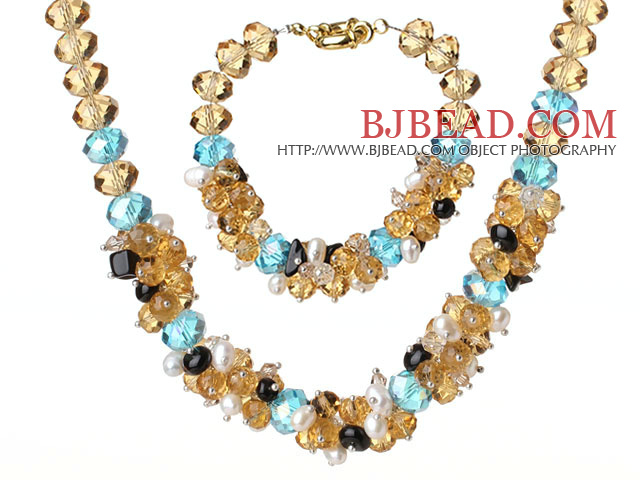 18*28mm sea blue agate beaded  necklace bracelet set