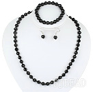 8mm faceted black agate ball necklace bracelet earrings set