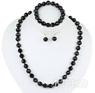 10mm faceted black agate ball necklace bracelet earrings set