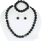 12mm faceted black agate ball necklace bracelet earrings set