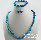 8mm blue agate ball necklace bracelet earrings set