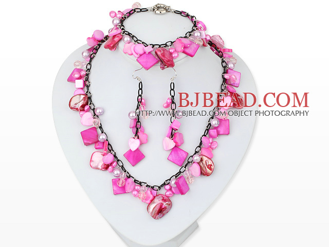 Hot Pink Series Assorted Hot Pink Pearl Shell Set with Metal Chain ( Necklace Bracelet and Matched Earrings )
