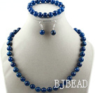 10mm faceted blue agate ball necklace bracelet earrings set