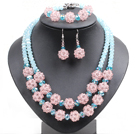 Popular Trendy Style Pink And Blue Crystal Beads Jewelry Set (Necklace With Matched Bracelet And Earrings) under $ 30