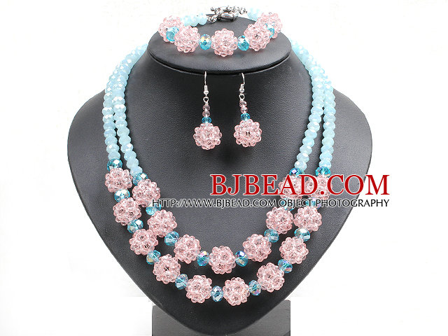 Popular Trendy Style Pink And Blue Crystal Beads Jewelry Set (Necklace With Matched Bracelet And Earrings)