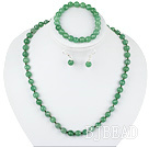 8mm faceted aventurine ball necklace bracelet earrings set under $12