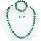 10mm faceted aventurine ball necklace bracelet earrings set