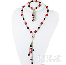 antique jewelry black agate red coral necklace bracelet set under $ 40