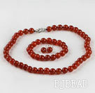 10mm red agate ball necklace bracelet earrings set under $12