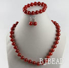 12mm red agate ball necklace bracelet earrings set