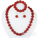 14mm red agate ball necklace bracelet earrings set
