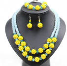 Popular Trendy Style Yellow And Light Blue Crystal Beads Jewelry Set (Necklace With Matched Bracelet And Earrings)