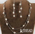 8-9mm white pearl necklace earrings set
