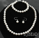 8.5-9mm A Grade Round Natural White Freshwater Pearl Set ( Necklace Bracelet and Matched Earrings )