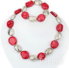 red coral and tibet silver necklace bracelet set under $ 40