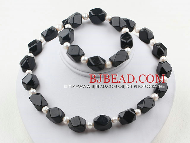 White Freshwater Pearl and Aniseed Black Agate Set ( Necklace and Matched Bracelet )