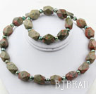 Green Freshwater Pearl and Aniseed Unakite Set ( Necklace and Matched Bracelet )