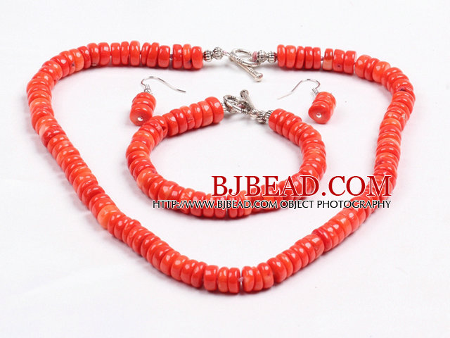 Popular Style Disc Shape Bright Red Coral Jewelry Set (Necklace with Matched Bracelet And Earrings)