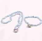 Fashion 6-7mm Natural Light Blue Freshwater Pearl Heart Pendant Jewelry Set(Necklace With Matched Bracelet)