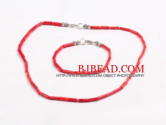 Simple Style Single Strand Cylinder Shape Red Coral Beads Jewelry Set(Necklace With Matched Bracelet)