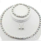 6-7mm Gary Color Rice Shape Freshwater Pearl Set ( Necklace Bracelet and Matched Earrings )