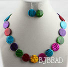 multi color shell disc necklace earrings set