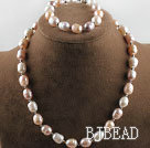 10-11mm white fresh water three color pearl necklace bracelet set