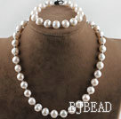 10-11mm white fresh water pearl necklace bracelet set