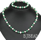 popular white pearl aventurine necklace bracelet set