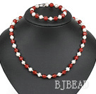 popular white pearl red agate necklace bracelet set