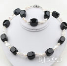White Coin Freshwater Pearl and Rounded Black Stone Set ( Necklace and Matched Bracelet )